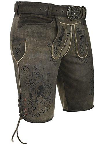Spieth & Wensky Lederhose Araber 45 cm, mit Latz und Geweihgürtel