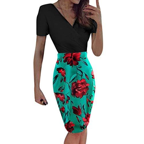 URIBAKY enges Kleid DamenBodycon-Kurzärm Kleid,Damen Kleider elegant Knielang,Ballkleider,Abendkleider,Party Kleider mit V-Ausschnitt und floralem Print