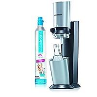 SodaStream Crystal Sparkling Water Maker - Black and Silver - with Dishwasher safe Carafe