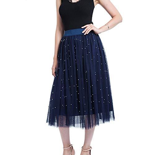 WOZOW Damen Tüllrock Lange Einfarbig läuten Elegant Party Prinzessin Tanzkleid Eine Linie Kleider Frauen Karneval Halloween Kostüm (65-110,Marine)