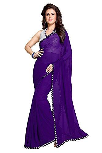 Roop Craft Designer Purple Color Saree For Women's Party Wear (Mirror_Purple_2)