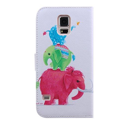 Coque pour Samsung Galaxy S5 Mini, ISAKEN Élégant Style PU Cuir Flip Magnétique Portefeuille Etui Housse de Protection Coque Étui Case Cover avec Stand Support pour Samsung Galaxy S5 Mini (#24) #7