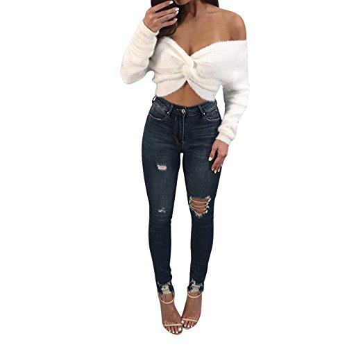 Pullover Damen Sweatshirt Ronamick Einfarbig Frauen Neuheit aus der Schulter Langarm Sexy weiche Mini kurze Bluse Tops Pullover (Weiß, M) (Frauen Sweatshirts Crewneck)