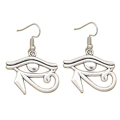 yptisches Kleopatra Wedjat Auge des Horus RA Vintage Silber Ton baumeln Ohrringe Wicca Pagan (Bauchtanz Kostüme Ägyptischen Stil)