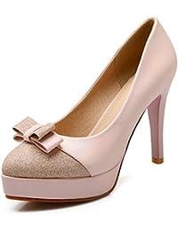 LongFengMa - Zapatos de vestir de Material Sintético para mujer negro negro 1 UK, color negro, talla 35.5