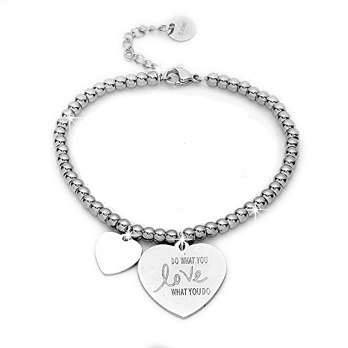 Beloved ❤ Armband Damen, Armband aus Stahl mit emotionellenSätzen, Gedanken, Worten mit Charms–Anhänger –Größe verstellbar–mit Gravur–Silber Mod 5