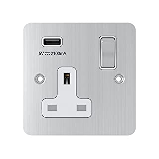 AET USBFSC1GSOCWC 13 A 1-Gang Satin Chrome Flat Single Plug Socket USB Power Outlet W/USB Charging Port with White Insert Metal Rocker Switch