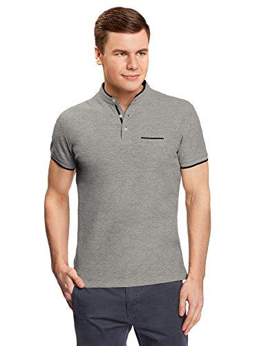 oodji Ultra Herren Poloshirt mit Stehkragen und Kontrastbesatz Grau (2379B)