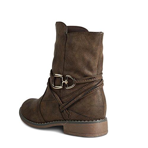Schuhtraum Damen Schlupfstiefel Stiefeletten Stiefel Boots Gefüttert ST535 Braun
