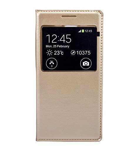 Dashmesh Shopping Durable Premium GOLD LEATHER CALLER ID Flip Case Cover For Samsung Galaxy J5 GOLD Color
