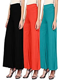 3-High Waist Flare Wide Leg Long Palazzo Trousers