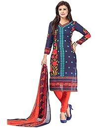 A K Designer Women's Chiffon Dress Material (Mehak9020_Free Size_Blue)