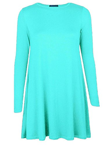 Islander Fashions femmes manches longues Swing patineuse robe dames col ras du cou fantaisie Party Wear robe Top S / 3XL Menthe