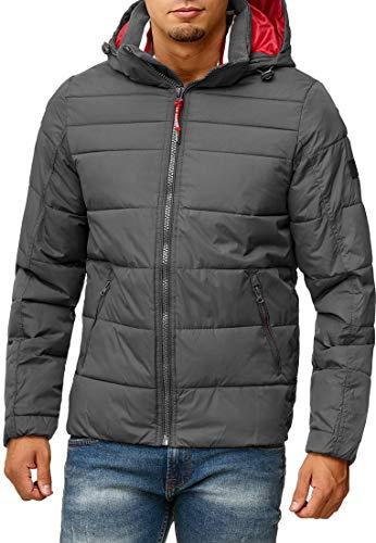 Indicode Herren Philpot Steppjacke Übergangsjacke Jacke mit Kapuze Dk Grey S - 3