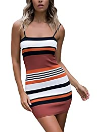 f55b1253c953 Vestiti Donna Estivi Eleganti Moda A Strisce Corti Abiti Smanicato Ragazze  Giovane Slim Sling Backless Pacchetto