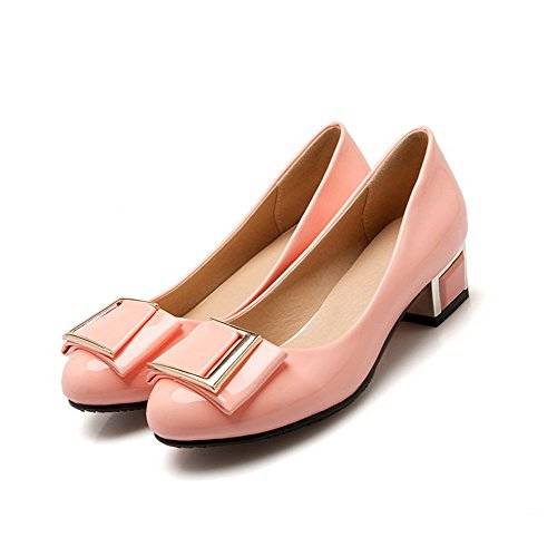 VogueZone009 Femme Tire à Talon Bas Verni Rond Chaussures Légeres Rose