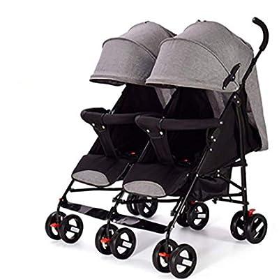 Cochecito plegable portátil doble, respaldo ajustable Cinturón de seguridad de cinco puntos de alto paisaje Cochecito recién nacido de cuatro ruedas