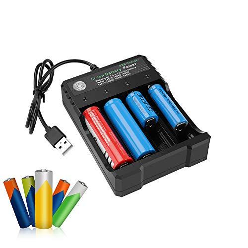 Caricabatterie AA AAA, Carica Batterie 4 Slot con Indicatore LED, Caricabatteria con porta USB Auto-scarica Ridotta, Adatto per Li-ione 18650/16340/18350/18500/ NiMh/NiCd/AAA/AA