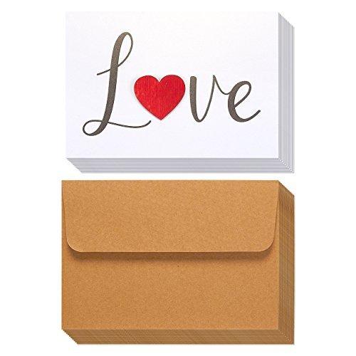 12Pack Valentine Karten-Love Karten-Kursiv Schrift Holz Herz Design, inkl. Umschläge, Romantische Grußkarten für Valentinstag, Jahrestage, 18,5x 13,2cm
