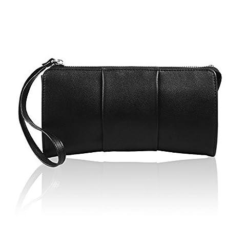 Becko Women Wallet and Purse Long Clutch Butterfly Handbag Card Holder - Black