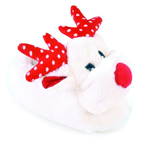 Filles 3d Reindeer Chaussons Blanc