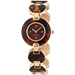 Esprit Lagoon Tortoise Women's Quartz Watch with Brown Dial Analogue Display and Rose Gold Plated Stainless Steel Bracelet ES106572004