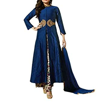 Salwar Soul Women's Chanderi Regular Fit Anarkali Suit(Blue_Free Size)