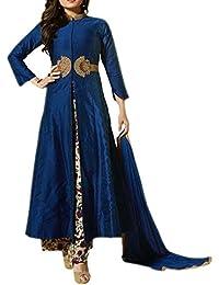 Ethnic Empire Women's Chanderi Dress Material (EE-EA10736_Blue_Free Size)