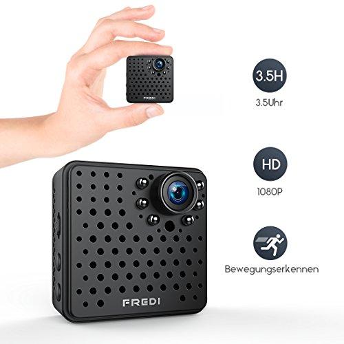 1080P HD Mini kamera ,Überwachungskamera FREDI , Tragbare Kamera Wlan Sicherheit Kamera Kleine IP Kamera Überwachungskamera mit Bewegungserkennung bis zu 128GB )mit akku (Mini Hd überwachungskamera)