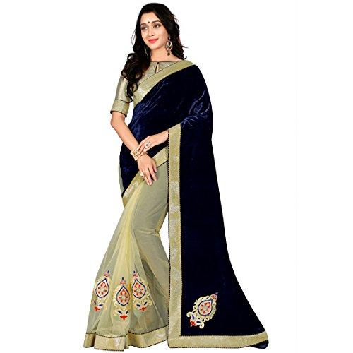 V.Clothy Women's Velvet & Net Embroidered Sarees (Navy Blue)