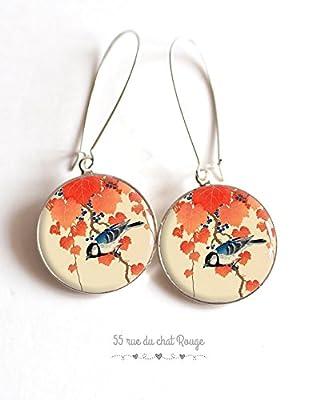 Boucles d'oreilles cabochon Japon, Asie, oiseau motif japonais