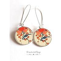 Ricci di orecchi cabochon Giappone, Asia, uccello motivo giapponese