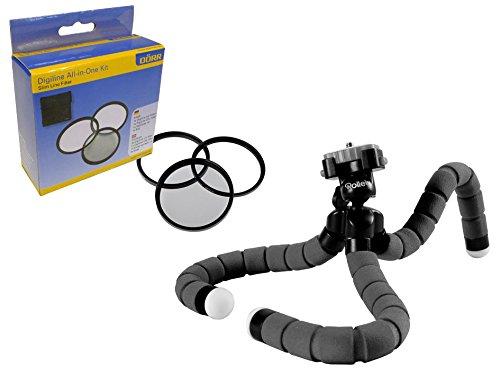 Foto Zubehör Set mit Reise- Klemm-Stativ Monkey und mit 58mm Filter Set (UV, Pol, Nahlinse)