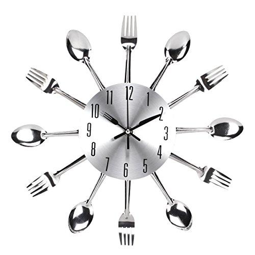 UNIQUEBELLA posate orologio, orologio con posate, orologio da cucina, orologio da parete, analogico in metallo D 33 cm, Metallo, argento