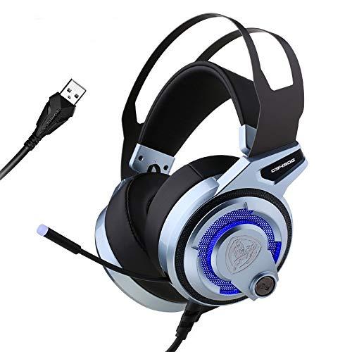 IN THE DISTANCE 7.1 Virtual Sound Gaming Headset LED-Kopfhörer Mit Rauschunterdrückung Und Dual-Engine-4-Lautsprecher-USB-Stecker Für PC-Spiele (Color : with Retail Box) Headset Retail-box