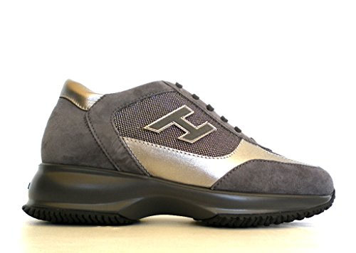 Hogan scarpa donna interactive h flock hxw00n025829ai0w10 grigio camoscio e tela - 40 eu