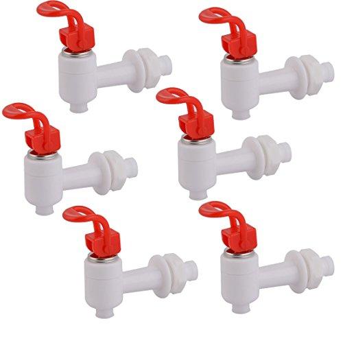 sourcingmap 6 Stk. Haushalt Haus Büro Plastik Drucktyp Wasserspender Hahn Weiß Rot