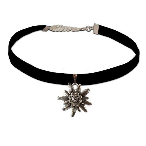 Trachtenschmuck Trachten-Samtkropfband Strass-Edelweiss groß (schwarz) * Damen Dirndlkette,Trachtenkette elastisch