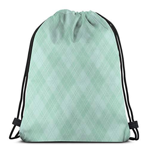 Nicegift Mint Green Argyle Plaid 3D Print Drawstring Backpack Rucksack Shoulder Bags Gym Bag for Adult 16.9