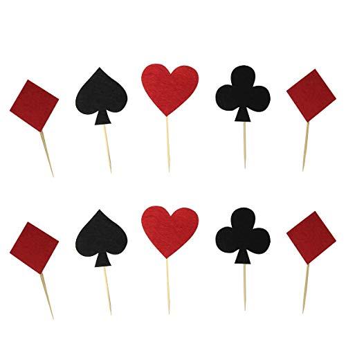 per Spielkarten Poker Kreuz Herz Pik Karo Form Kuchendeckel Kuchendeko für Geburtstagsfeier Casino Poker Party 20 Stück ()