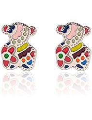 Lureme® nuevo estilo de acero inoxidable del patrón del oso colorido lindo pendiente del perno prisionero (02004772)