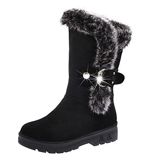Stiefeletten Damen Schuhe Xinan Sexy Damen Stiefel Slip-on Weiche Schnee Stiefel Runde Zehe Flache Winter Pelz Knöchel (38, Schwarz)