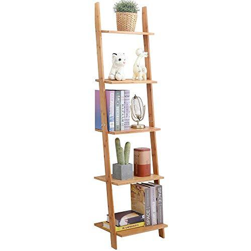 LARRY SHELL Natural Bamboo Ladder Shelf, 5-Tier Wandregal, Leiter Bücherregal Storage Display Regale Multifunktionale Pflanze Flower Stand Regal, für Wohnzimmer, Küche -