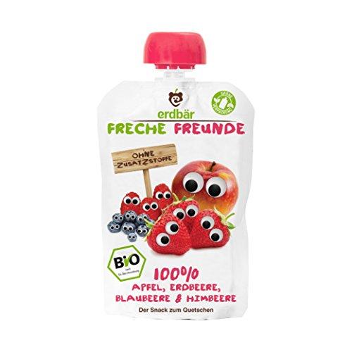 """erdbär Freche Freunde """"100% Apfel, Erdbeere, Blaubeere & Himbeere"""", 6er Pack (6 x 100 g)"""