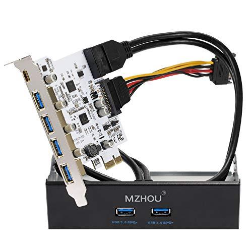 MZHOU 7-Port-USB 3.0-PCIe-Karte, 5 USB 3.0-Ports und 2 hintere USB 3.0-PCIe-Erweiterungskarten mit 3,5-Zoll-USB 3.0-Frontblenden-Erweiterungsschacht und 2 Netzkabeln