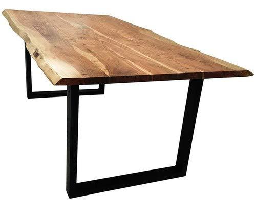 SAM Stilvoller Esszimmertisch Imker aus Akazie-Holz, Baumkantentisch mit lackierten Beinen aus Roheisen, naturbelassene Optik mit Einer Baumkanten-Tischplatte, 180 x 90 cm