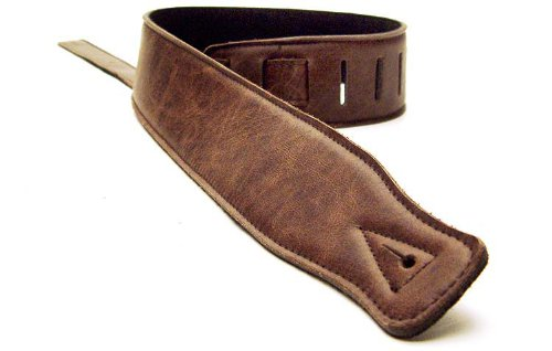 No Bull Music Gear DBM Italian Leather Guitar Strap: Dark Brown Ultra Soft Strap (Up to 1.3m) for Electric / Acoustic / Bass Guitar