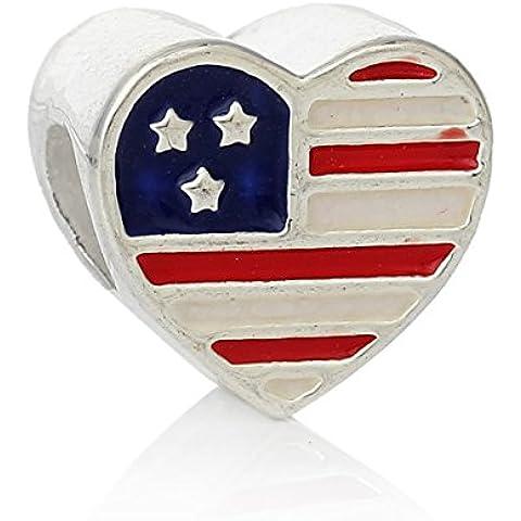 SEXY SPARKLES-American Flag Military moglie-Charm distanziatore compatibile con la maggior parte dei bracciali con catena a