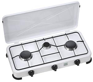 Brixton KO-6382DU - Cocina de gas con tres fuegos (50 mbar), color blanco de Brixton