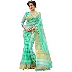CLOTHING TOP BRANDS 50%-70% Today's Deals Offer Sthri Women's Poly Cotton Saree (M5MADU2-1603_Green)